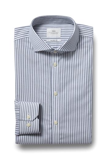Moss London Premium Extra Slim Fit Blue Single Cuff Textured Stripe...