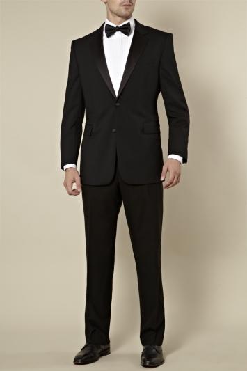 Moss Bros Regular Fit Satin Notch Lapel Dinner/Tuxedo Jacket Black