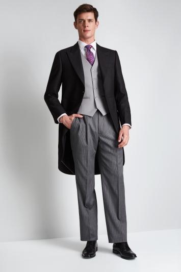 Moss Bros Regular Fit Black Fine Herringbone Morningwear Coat