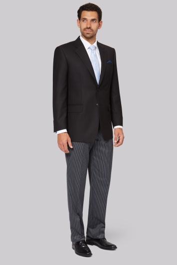 Moss Bros Regular Fit Black Notch Lapel Masons Suit Jacket