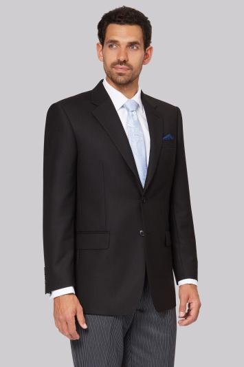 Moss Bros Regular Fit Black Notch Lapel Masons Jacket
