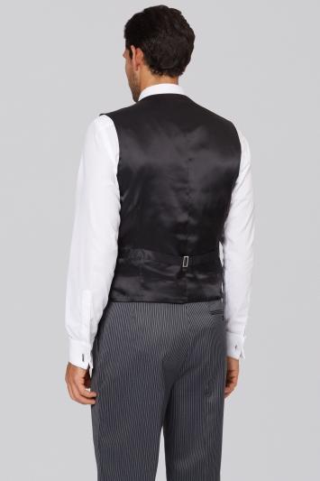 Moss Bros Regular Fit Black Herringbone Waistcoat