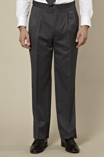 Moss Bros Regular Fit Grey and Black Stripe Morningwear Trouser