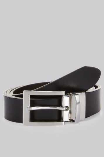 Moss 1851 Black/Brown Reversible Bonded Leather Belt