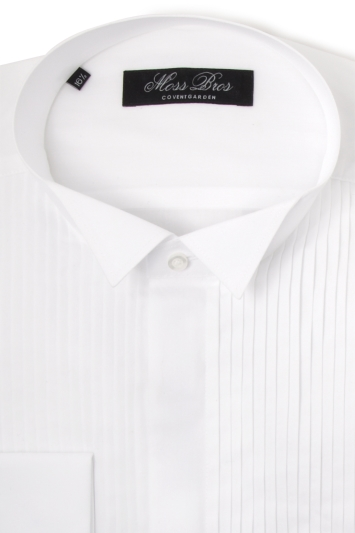 Moss Bros shirt in white with 6 pleats and a wing collar