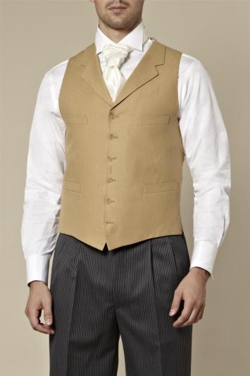 Moss Bros Covent Garden Tailored Fit Beige Linen Waistcoat