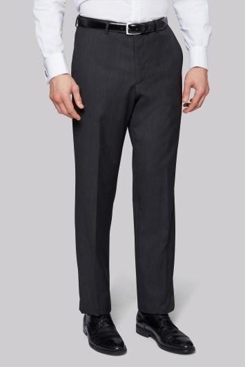 Moss Bros Flat Front Charcoal Herringbone Regular Fit Trousers