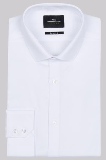 Moss London Extra Slim Fit White Single Cuff Dobby Shirt