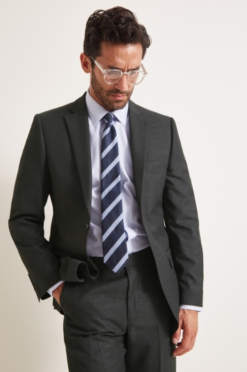 Moss Esq. Regular Fit Plain Charcoal Notch Lapel Jacket