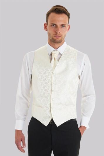 Tailored Fit Cream Waistcoat & Cravat