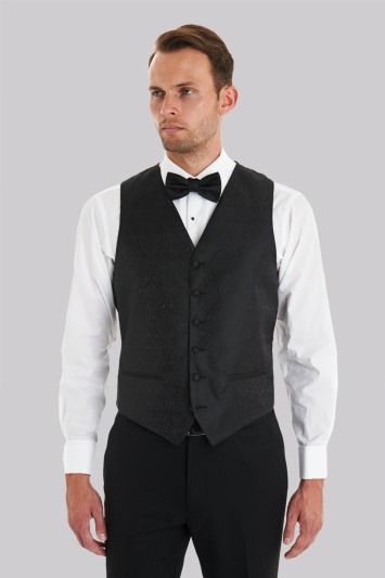 Tailored Fit Black Waistcoat & Bow Tie