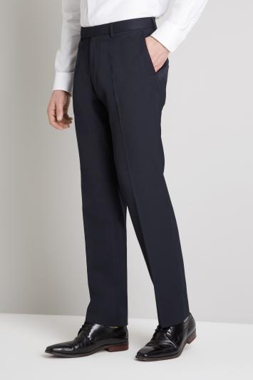 Moss Esq. Regular Fit Machine Washable Navy Trousers