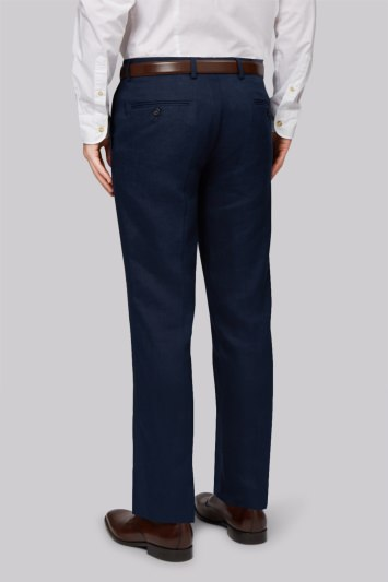 Moss 1851 Tailored Fit Navy Linen Trousers
