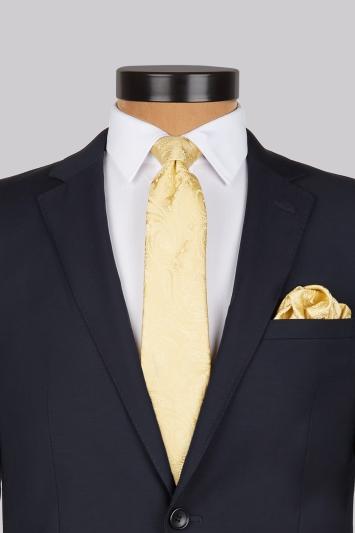 Moss 1851 Gold Paisley Silk Tie