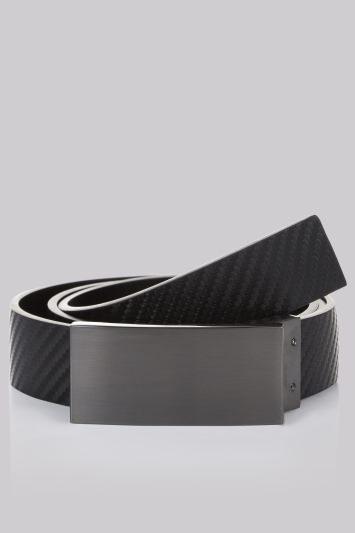 Moss London Black Reversible Plaque Belt