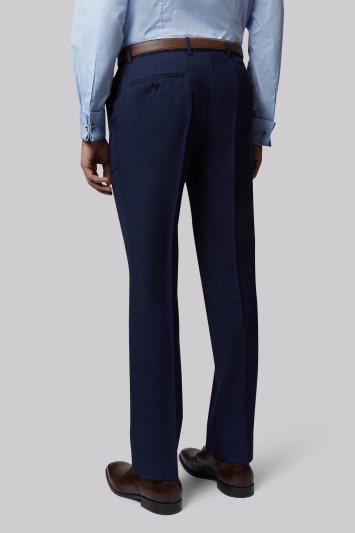 Moss 1851 Tailored Fit Navy Textured Trouser