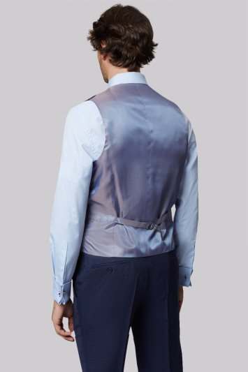 Moss 1851 Tailored Fit Navy Textured Waistcoat