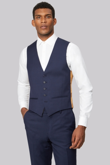 Ted Baker Tailored Fit Blue Pindot Waistcoat
