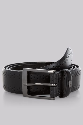 French Connection Black Brogue Leather Belt