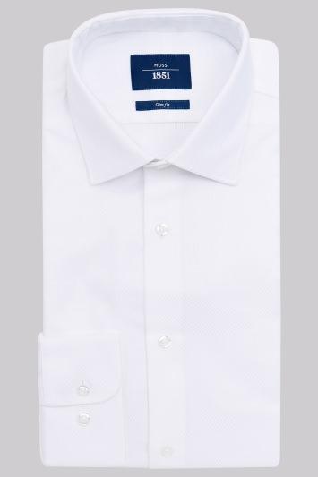 Moss 1851 Slim Fit White Single Cuff Basket Weave Shirt