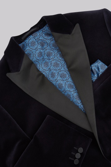 Moss 1851 Tailored Fit Navy Velvet Jacket