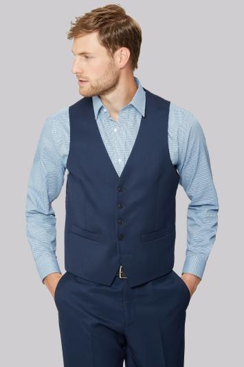 Moss Esq. Regular Fit Blue Twill Waistcoat