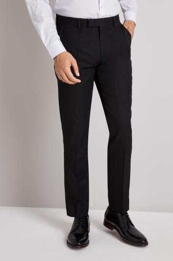Moss London Slim/Skinny Fit Black Twill Trousers