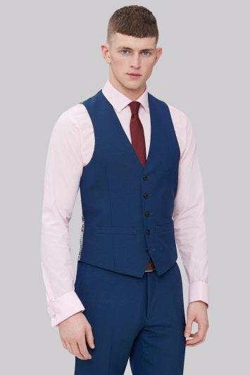 Moss London Skinny Fit Teal Waistcoat
