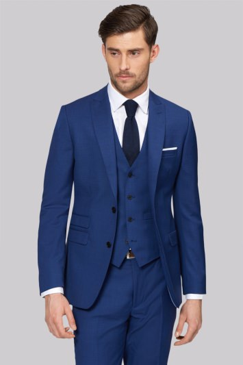 Moss 1851 Tailored Fit Bright Blue Jacket