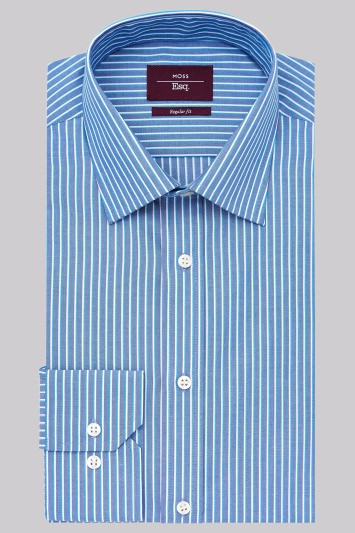Moss Esq. Regular Fit Teal Single Cuff Edge Stripe Non-Iron Shirt