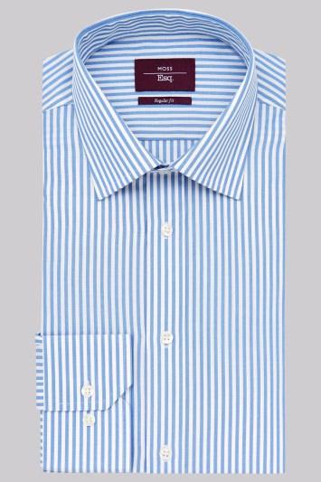 Moss Esq. Regular Fit Blue and Yellow Single Cuff Candy Stripe Non-Iron Shirt