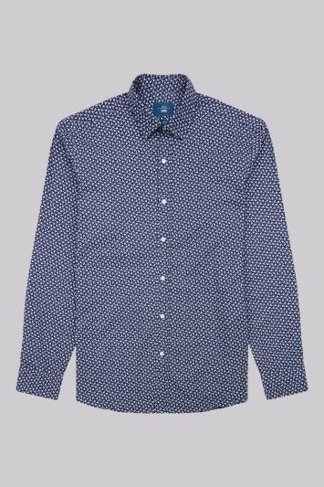 Moss 1851 Slim Fit Navy Single Cuff Flower Print Casual Shirt