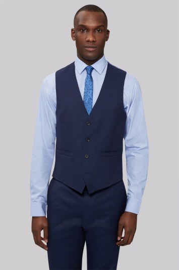 French Connection Slim Fit Bright Blue Milled Waistcoat