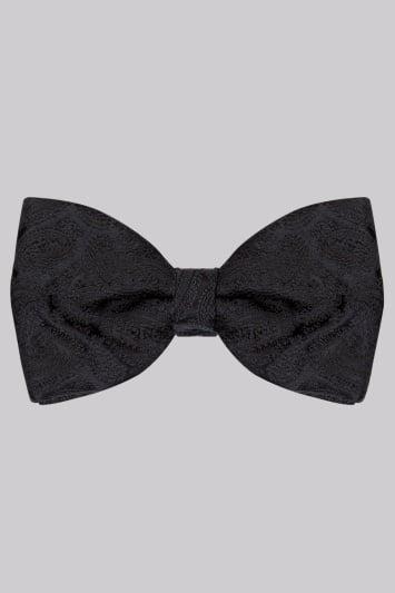 Moss 1851 Black Paisley Silk Bow Tie
