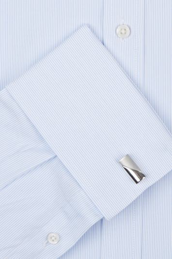 Moss 1851 Slim Fit Sky and White Double Cuff Skinny Stripe