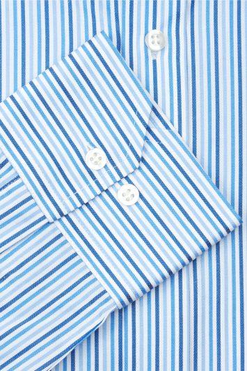 Moss Esq. Regular Fit Blue Single Cuff Triple Stripe Non-Iron Shirt