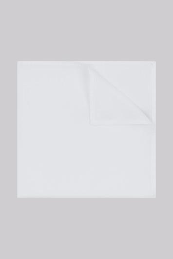 Moss 1851 White Plain Cotton Pocket Square