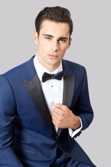 Moss 1851 Tailored Fit Bright Blue Tuxedo Jacket