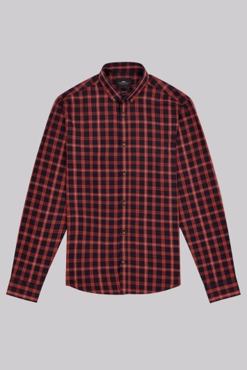 Moss London Extra Slim Fit Orange and Navy Single Cuff Bold Check Casual Shirt