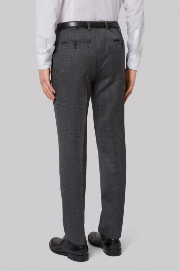 French Connection Slim Fit Charcoal Jacquard Trousers