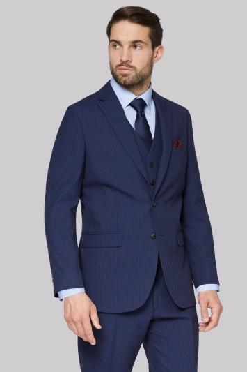 Moss Esq. Regular Fit Blue Stripe Jacket