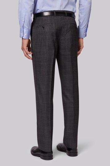 Moss Esq. Regular Fit Grey Check Trousers