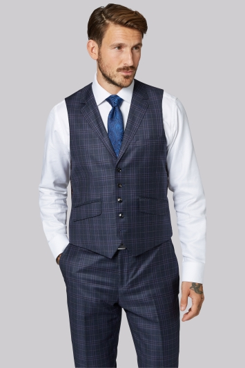 Ted Baker Tailored Fit Blue with Lilac Check Waistcoat