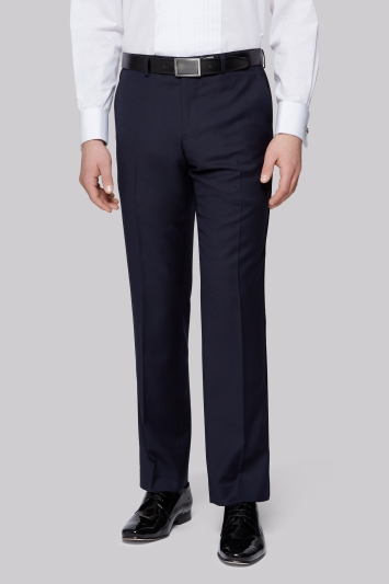 Moss 1851 Tailored Fit Navy Textured Dress Trousers