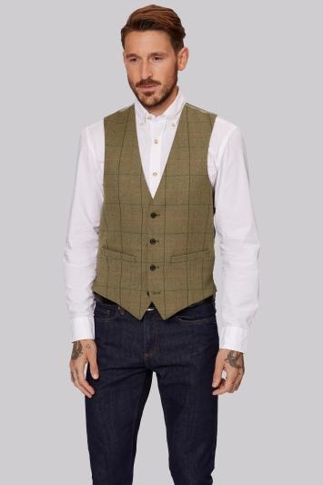 Moss 1851 Tan Multi Check Waistcoat