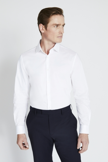 Slim Fit White Stretch Shirt
