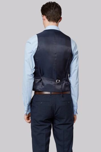 Moss London Skinny Fit Petrol Texture Waistcoat