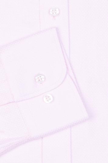 Moss 1851 Slim Fit Pink Single Cuff Basket Weave Shirt