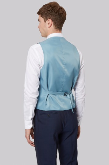 French Connection Slim Fit Blue Mohair Waistcoat