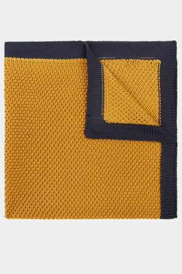 Moss London Mustard Knitted Pocket Square